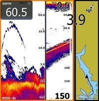 Lake Eildon and sounder split screen with bottom expansion.Larger Image