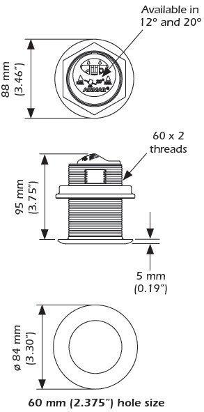 b60 600w tilted thru hull transducer