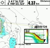 Chart with waypoint  Sounder recording. Click Here  for larger image