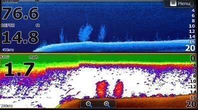 Horizontal Full screen showing Down Imaging on the top and Sonar view on the bottom