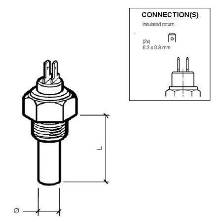 VDO Coolant Temperature Sensor 40-120C Dual-Pole Boat Marine 323-805-001-004N